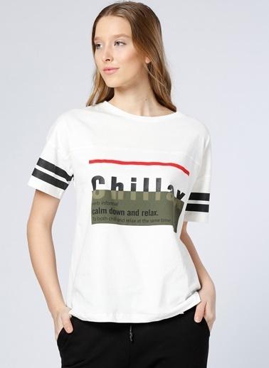 T-Box Yazı Baskılı Tişört Beyaz